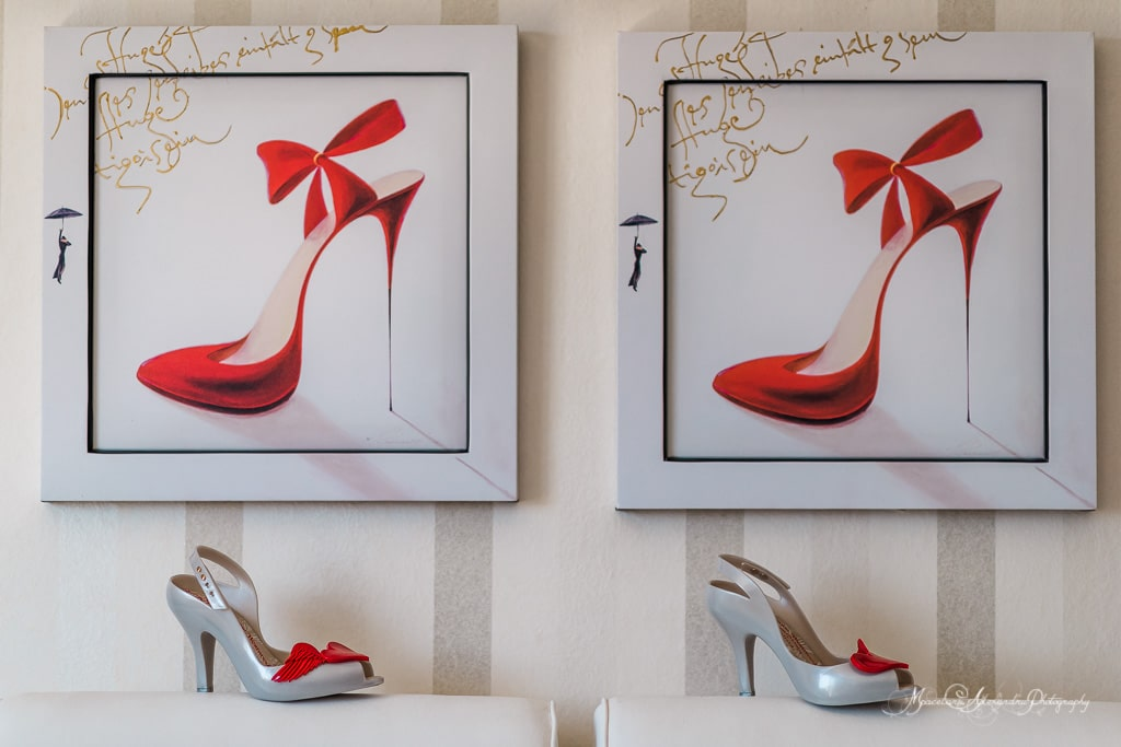 The beautiful photo of the bride's shoes in the hotel room before the wedding at Minthis Hills Cyprus