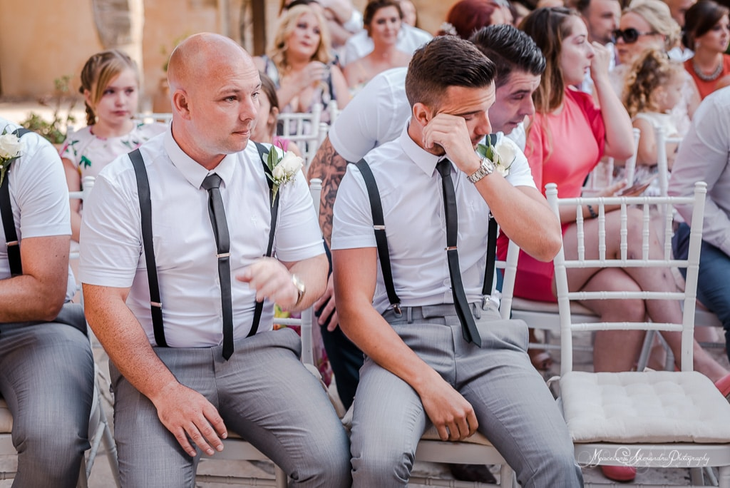One of the ushers crying at the wedding of Claire and Steve in Minthis Hills