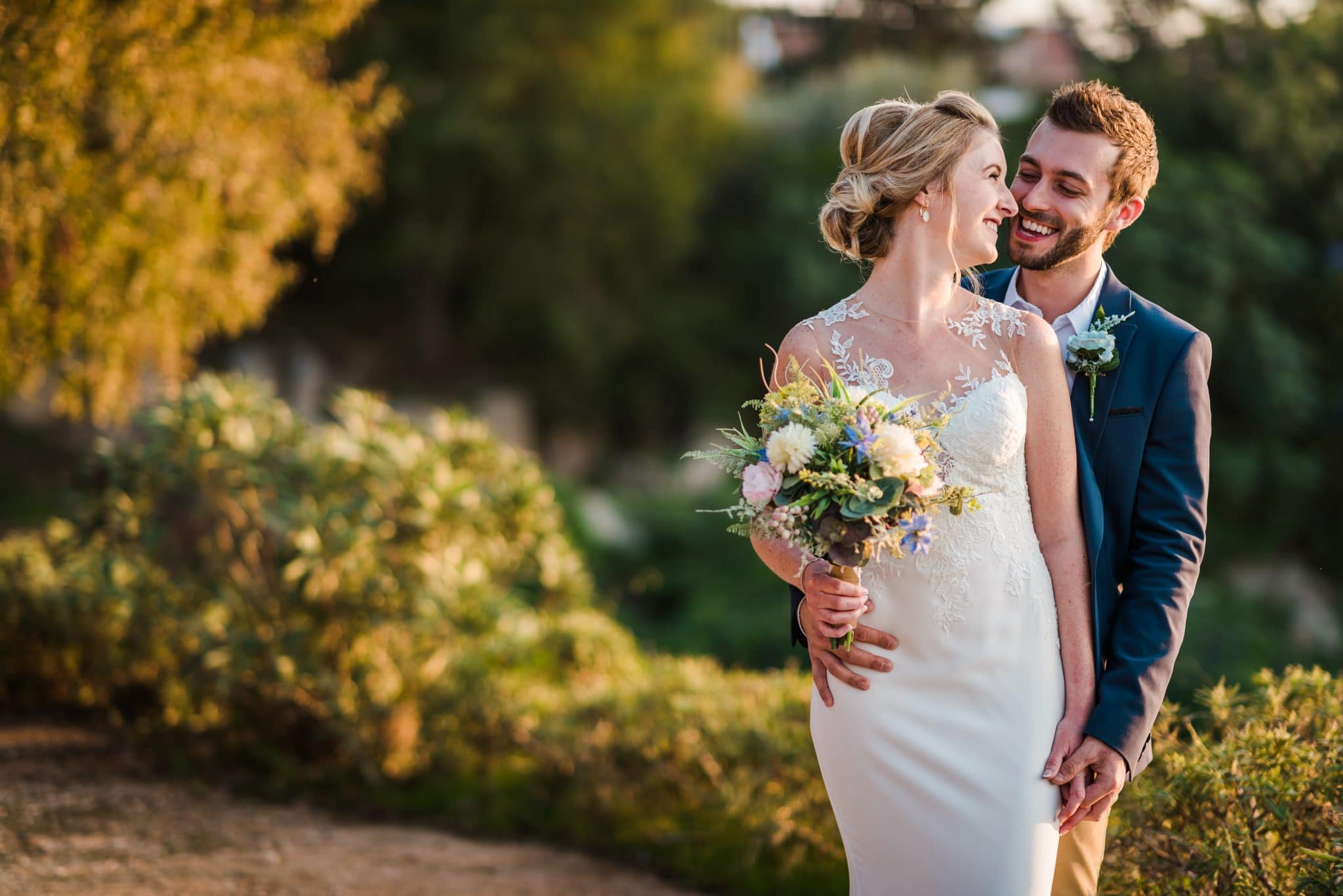 Cyprus Wedding Videography - A great expression on Adam's face when he hugs Lydia, the photo was taken at the top of the stairs