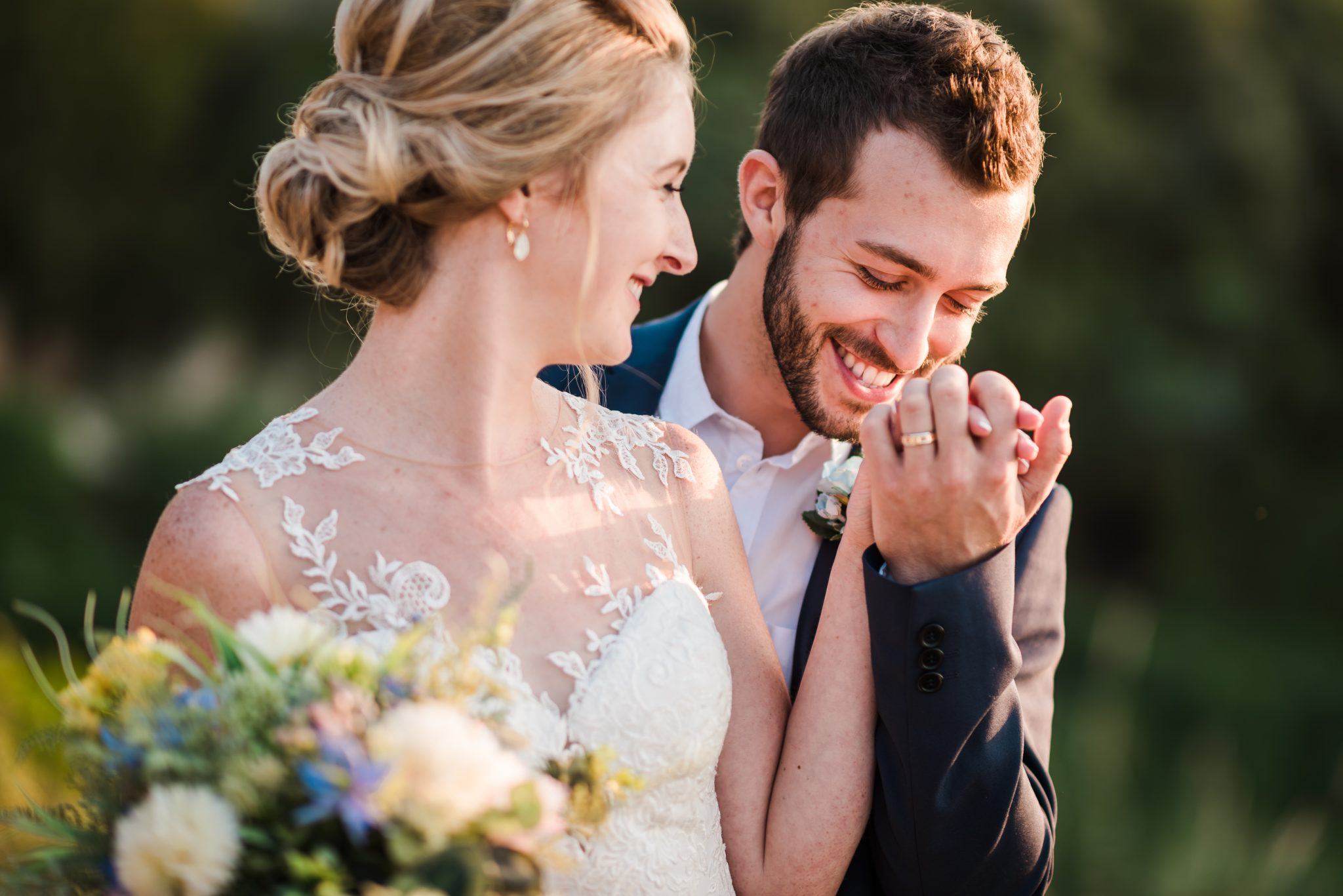 A true gentleman, is kissing the hand of his bride, emphasizing the love that he has for her, any photographer in Cyprus will have a blast at this moment.