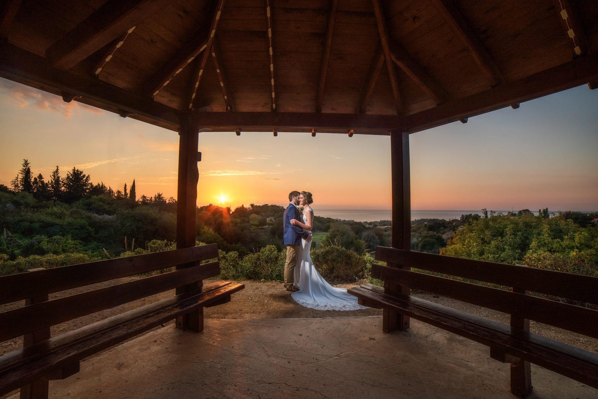 A magic moment for me as a wedding photographer in Paphos, the gazebo at the Lemba tavern in Paphos is the perfect frame for any couple that love having photos taken at the sunset,