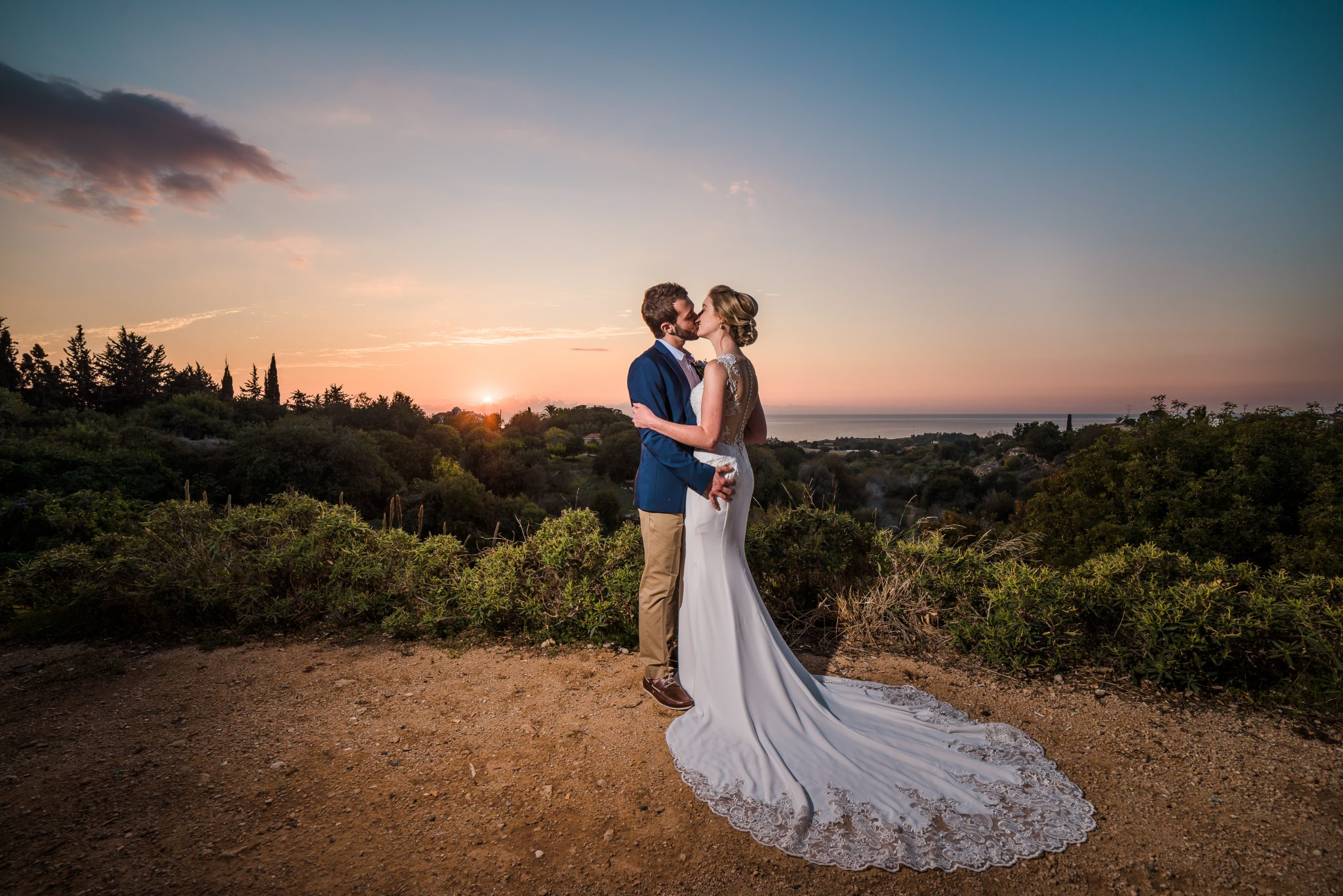 The sunset was amazing an it made the perfect drop for my images, I always look for the best places to take my couples as a Paphos wedding photographer.