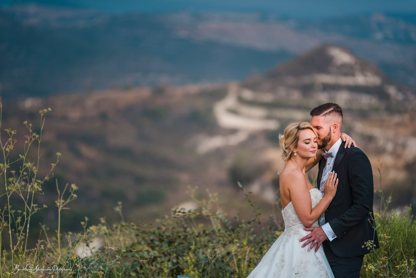 Beautiful wedding photo in the mountains, cyprus wedding photographer