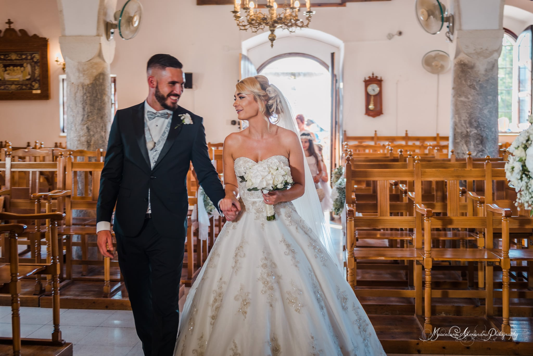 Wedding photography in Paphos - The bride and groom in the church