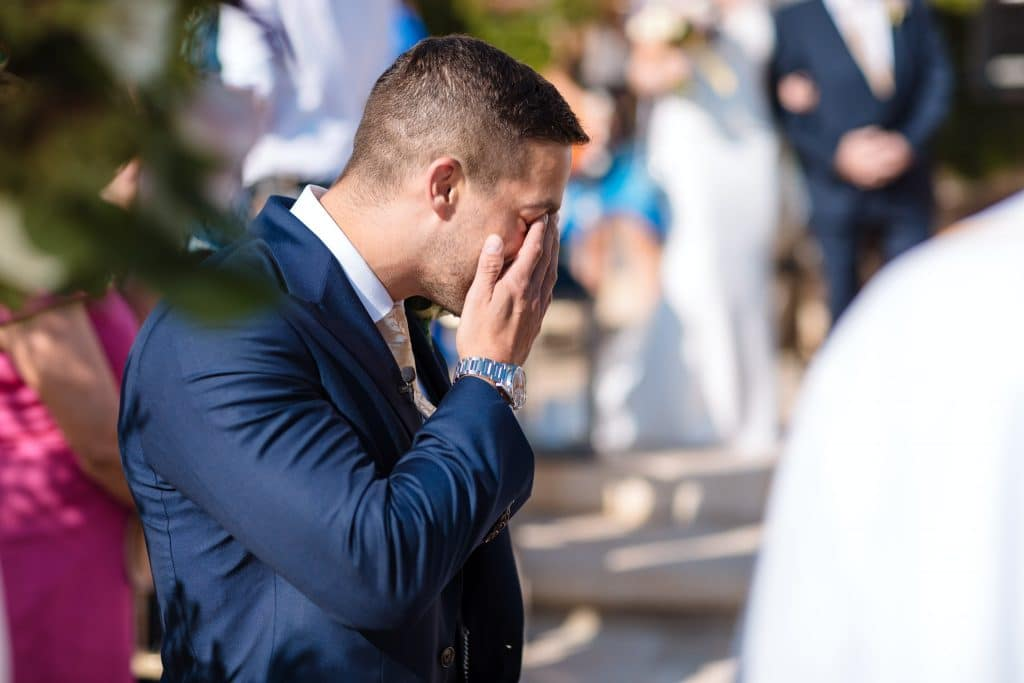 Groom crying when bride arrives - Wedding photographer Paphos
