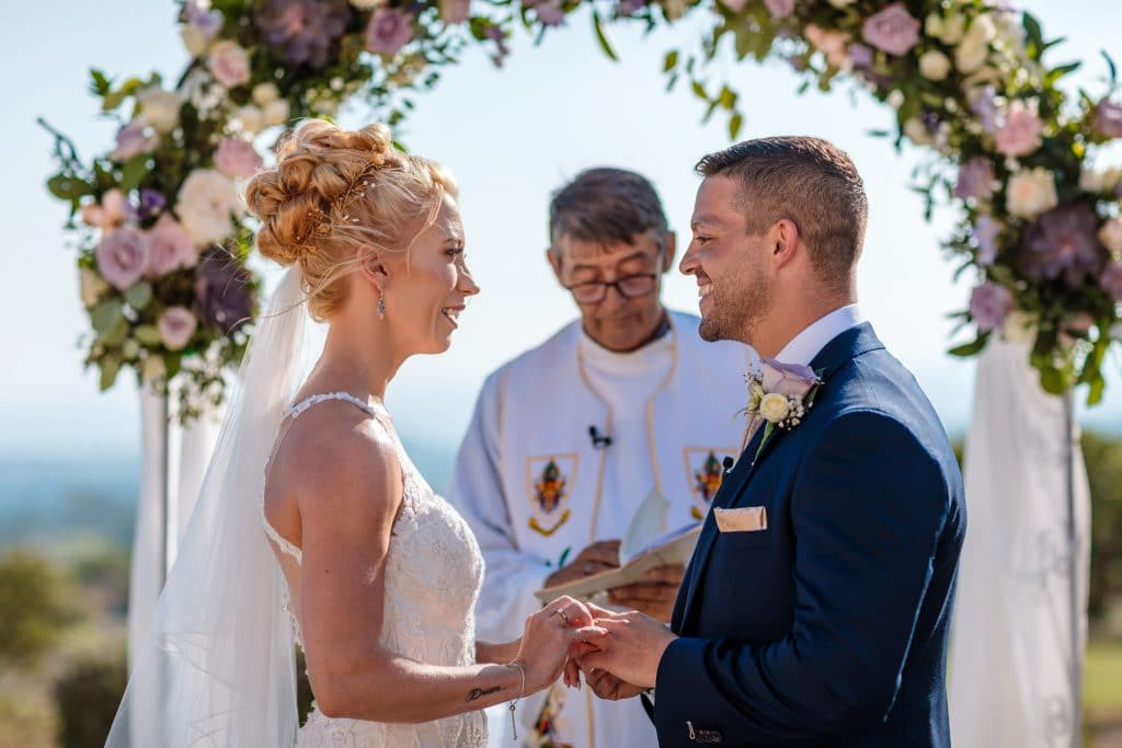 Bride and Groom exchanging vows - wedding photography Cyprus