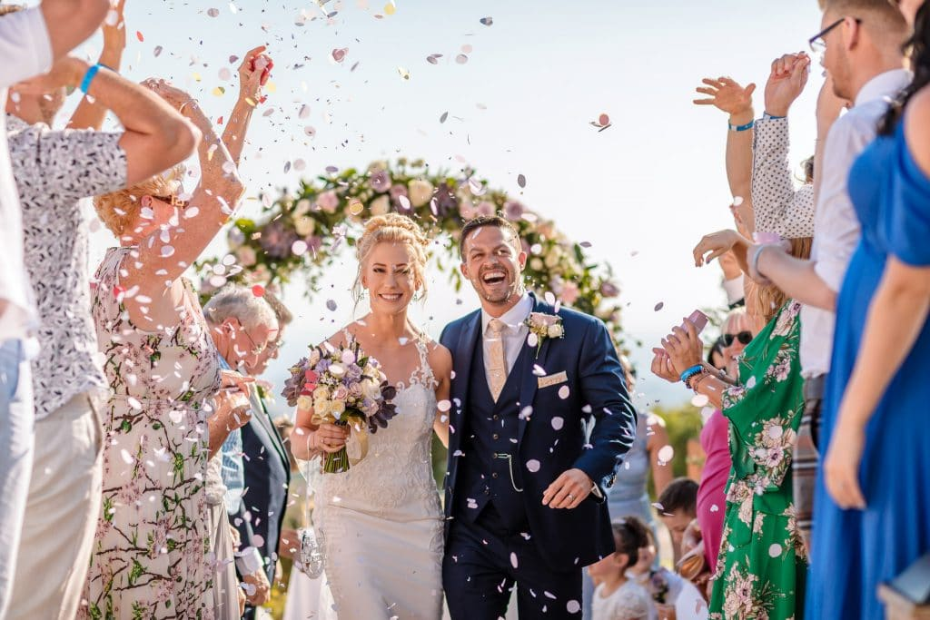 Bride and Groom confetti - Wedding photographer Cyprus