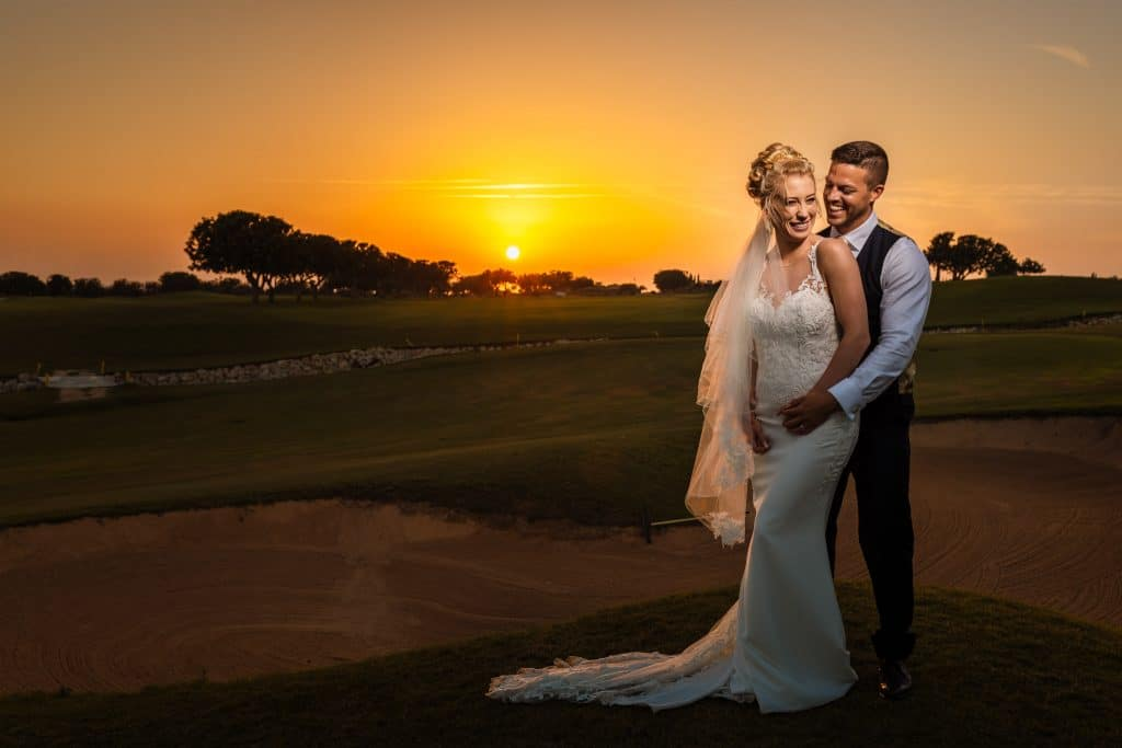 Bride and Groom at sunset - Cyprus wedding photographer