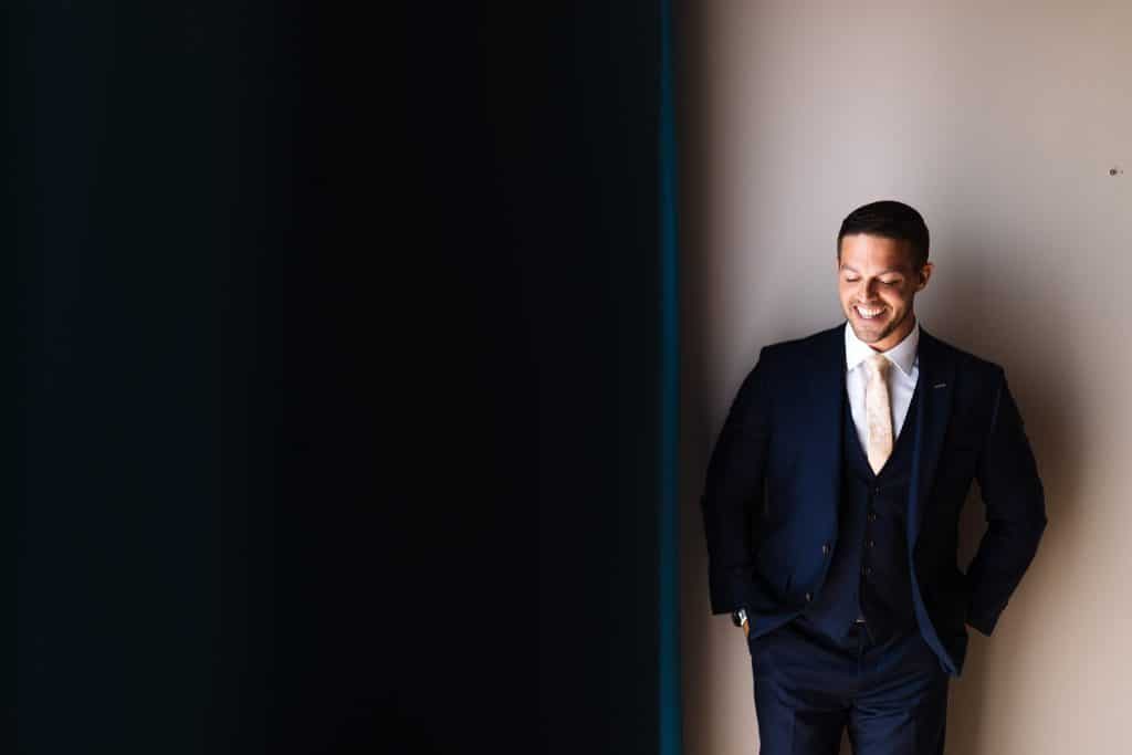 Groom portrait in his suit  - Wedding photographer Cyprus